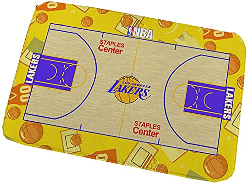 Door Mat Rug, NBA Basketball Team Boy's Room Decoration Basketball Court, Absorbent Non-Slip Bathroom Living Room Carpet In Front of The Bed Gift for Basketball Fans (Yellow,50*80cm)