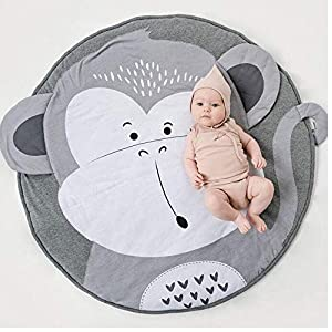 """crib bedding and baby bedding ustide baby floor blanket, baby play mat cotton floor gym - non-toxic non-slip reversible baby play mat washable,37.4""""x37.4""""-monkey- grey nursery rug"""