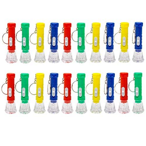 JZK 20 x Bunt Mini Schlüsselanhänger Taschenlampe Kindertaschenlampen Spielzeug für Kinder Party Geburtstag Party Favors Mitgebsel Gastgeschenk Geschenk