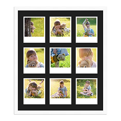 WANDStyle Polaroid Serie H950 - Marco para fotos Polaroid (cristal normal, incluye paspartú negro, para 9 Polaroids)