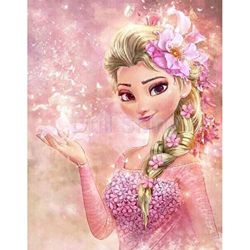 luckykyky 5D Diamant Malerei Voll Strass Mosaik Cartoon Gefrorene Schwestern ELSA Anna Stickerei kleines Mädchen Kreuzstich Handwerk Dekoration Geschenk Runde Diamant 3D Ungerahmt 40x50cm