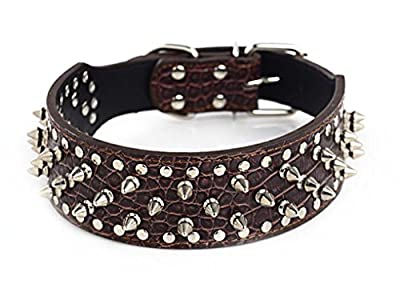 BTDCFY PU Leather Adjustable Spiked Studded Dog Collar 2""