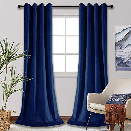 SMILETIME Blackout Velvet Curtains with Grommet, Thermal Insulated Super Soft Privacy Noise Reducing Velvet Drapes for Living Room, 2 Panels, Navy Blue, Each 52 x 96 inches Long