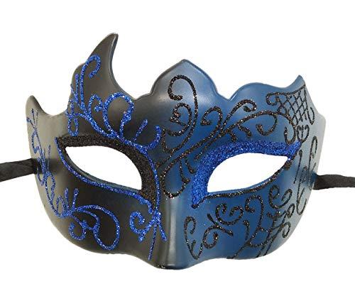 Coolwife Masquerade Mask Vintage Venetian Greek Roman Party Mardi Gras Masks(Black Blue)