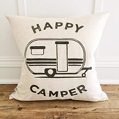 Just607on Happy Camper Pillow Cover, camper pillow cover, RV pillow- glamper pillow, camp pillow, glamping pillow, camper decor