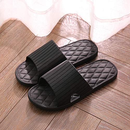 TDYSDYN Tira Ancha, Sandalia Tipo Chancla Verano,Par de Sandalias y Zapatillas de pcv, Zapatillas de baño de plástico-A1 Negro_44-45
