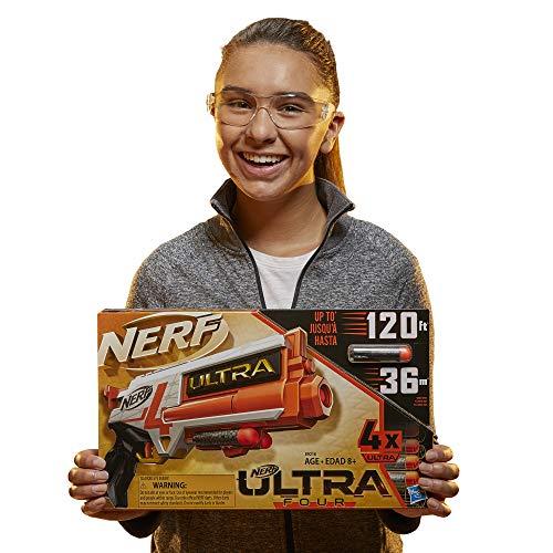 NERF Ultra Four Dart Blaster -- 4 Ultra Darts, Single-Shot Blasting, 2-Dart Storage -- Compatible Only Ultra Darts