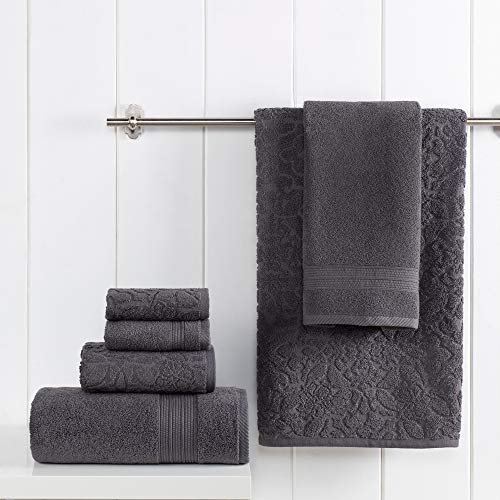 Amrapur Overseas 100% USA Grown Cotton Aura Jacquard Turkish Made 6-Piece Towel Set, Charcoal