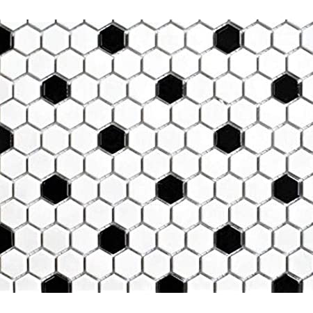 squarefeet depot retro hexagon porcelain mosaic floor and wall tile 10 25 x 11 75 white and black mixed