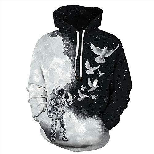 XKDZT Männer Frauen Hoodies Sweatshirt Astronaut Taube 3D Gedruckt Pullover Sportswear Trainingsanzug-5XL