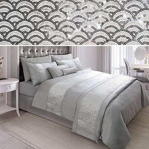 N/A Sequin Diamante Quilt Duvet Cover Set Bedding Linen Silver Grey (02-03) (Double)