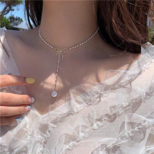 JIAJIA Schöne Und Romantische Perlen- Und Schleifenkette Für Frauen, Halspunktanhänger, Frauenpartyzubehör