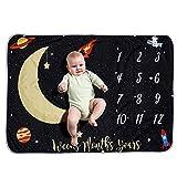 Decdeal Coperta Bambino Mensile Milestone Flanella Cielo Notturno Luna Stelle per Foto di Neonate Prop Sfondo 40 * 28in