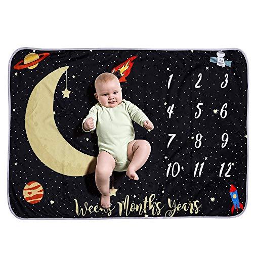 Decdeal Mantas de Bebé Ropa de Cama para Niños de Franela Que Hay Patrón Noche Cielo Luna Estrellas 40 * 28 Pulgadas