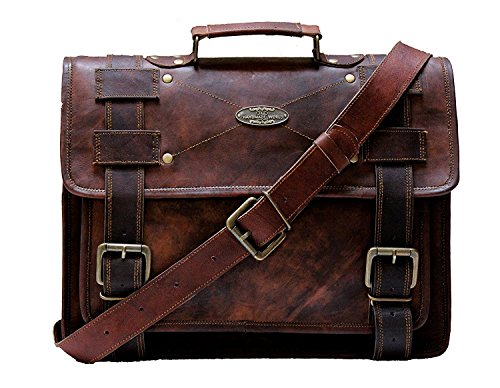 "Handmade World Laptop Bag Vintage Men Brown Leather Briefcase Messenger Bags (11"" X 15"")"