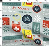 Retro, Vintage, Ski, Skifahren, Winter, Schneeflocke Stoffe