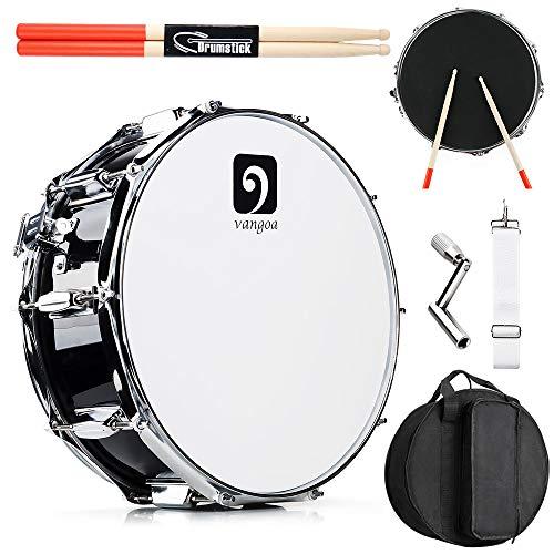 Vangoa Tambor de 14 Pulgadas, Cavidad de Madera de Arce, 10 Clavijas de Afinación, Profesional Snare Drum con Kits para Principiantes