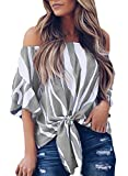 Asvivid Womens Striped Off The Shoulder Shirt Bell Short Sleeve Chiffon Blouses Elegant Tunic Juniors Holiday PartyTops XX-Large Grey