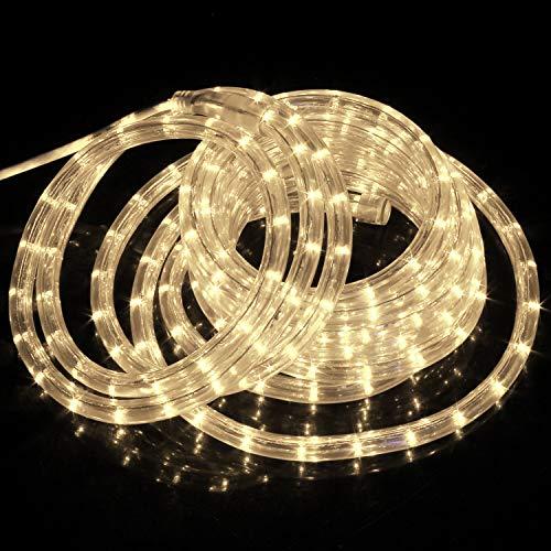 Forever Speed 12 Mètres LED Tube Lumière lumineux, LED Tubes lumineux Extérieur et Intérieure pour Jardin, Noël, Mariage, Fête,Salle de Séjour, LED Tuyau Bande IP65,Blanc Chaud