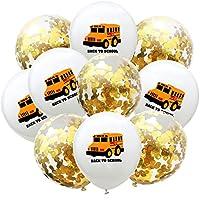 バルーン 10ピース12インチ警察救急車スクールバス紙吹雪ラテックス風船車のテーマベビーシャワー誕生日パーティーデコレーション (Color : White School Gold)