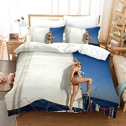 FAIEK Duvet Cover Super King bed Ocean sailing girl 220x240cm Printed Polyester with Zipper Closure Bedding Easy Care Anti-Allergic Soft Smooth with Pillow Cases 3 pcs set,ocean sailboat landscape