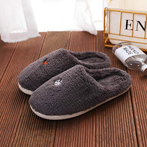 B/H Indoor Comfortable Warm Slippers,Non-slip flat-heel cotton slippers, warm cotton shoes-gray_44,Anti-Slip House Slippers Breathable Indoor Shoes