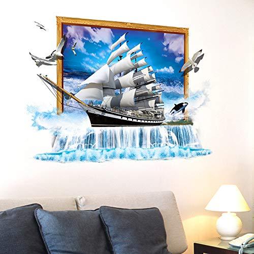 LETAMG Wandsticker 3D Visuelles Gefühl Wandaufkleber PVC Material DIY Dekorative Segelschiff 3D Wand Poster Für Wohnzimmer Dekoration