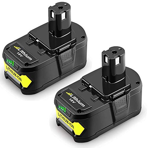 2 Pack 18V 6.0Ah High Capacity Lithium-ion Replacement Battery for Ryobi P104 P105 P100 P102 P103 P107 P109 P108 18 Volts Cordless Power Tools Battery