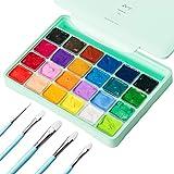 HIMI Juego de Pintura Gouache ,24 Colores Jelly Cup Paint Set con 10 Pinceles Jelly Cup en Estuche de Transporte con Paleta Portátil, 24 Colores Vibrantes Para Artistas, Estudiantes (verde)