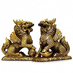 Feng Shui Set of Two Golden Brass Chi Lin/Kylin Wealth Prosperity Statue