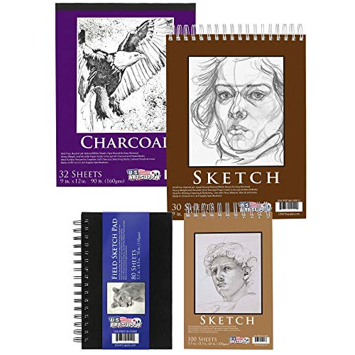 U.S. Art Supply 4-Pad Drawing & Sketching Paper Pack