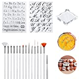 Letter Alphabet Cake Stamp Tool Biscuit Stamp Moulds Fondant Cake Cookie Stamp Molds Uppercase Lowercase Letter Shape Mold Set with Carving Pen Brush for Cake Home Party Decor Supplies DIY Pack of 18