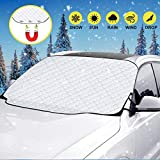 ADORIC Car Windscreen Snow Cover, Magnetic Windshield Snow Cover, Thicker Waterproof Car Front Window Cotton Protector Against Frost, Dust, Ice, UV Sunlight in All Weather (147cm*116cm)