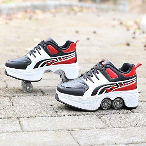 Wedsf Deformation Roller Sneakers, 2-in-1, multifunctioneel, casual outdoorschoenen, tweerijig, voor volwassenen en kinderen, telescoop