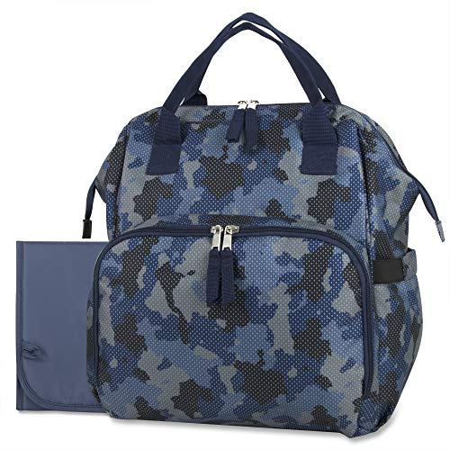 Wide Open Frame Diaper Bag Backpack and Nappy Travel Bag Tote with Changing Pad, Stroller Straps (Blue Camo)