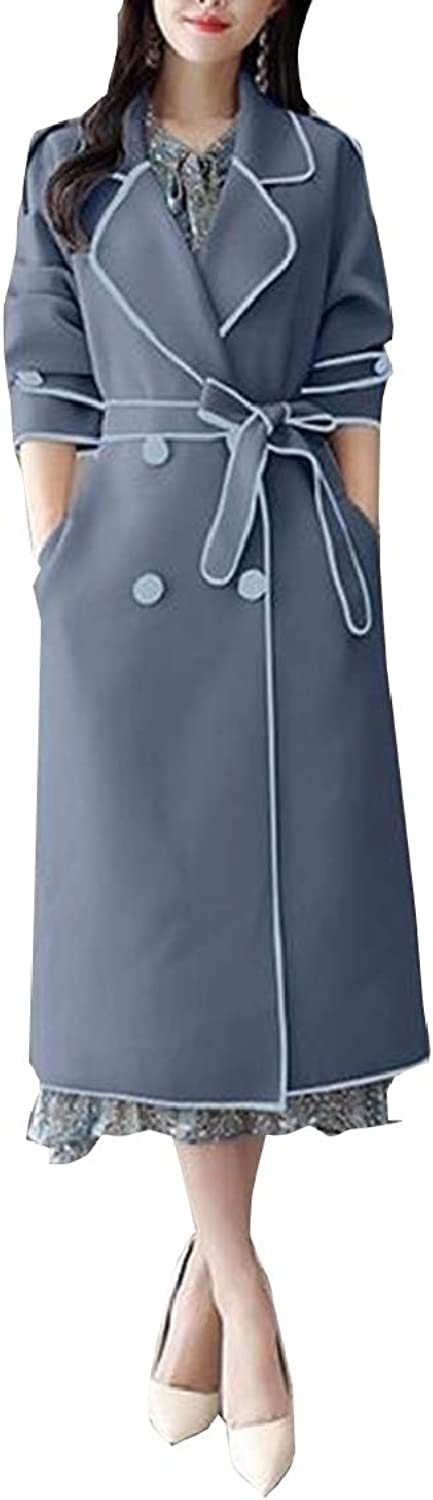 Ouxiuli Womens Trench Coat Long Double Breasted Jacket Belts