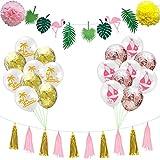 Amosfun Hawaiian Party Dekoration Kit hängen Papier Quasten Girlande Flamingo Banner Sommer Bikini...