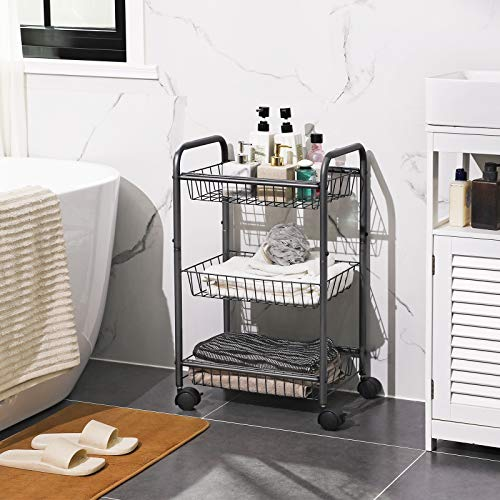 SONGMICS 3-Tier Metal Rolling Cart on Wheels with Baskets, Lockable Utility Trolley with Handles for Kitchen Bathroom Closet, Storage with Removable Shelves, Gray UBSC03GS