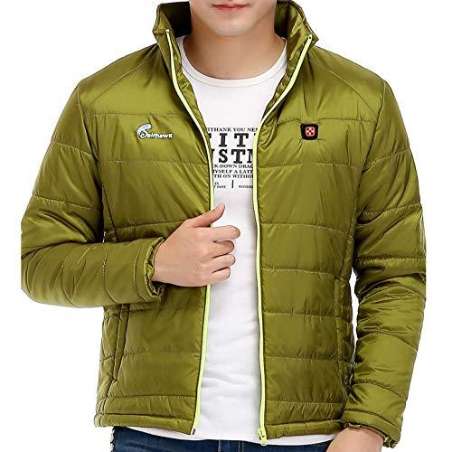 DZX elektrische verwarming voor heren kleding / jas, kan worden gewassen, lichaamsvest met USB-kabel, groen Large groen
