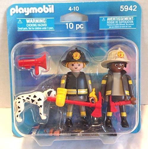 Playmobil Duo_Pack 5942 Coche de bomberos americanos con dálmata