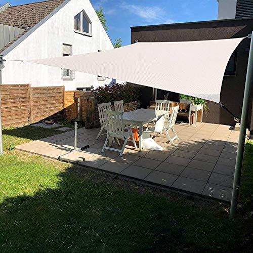 SUNLAX Sun Shade Sail, 12'x16' Beige Rectangle Canopy Shades for Outdoor Patio Pergola Cover Sunshade Sails UV Blocking Canovas Covers