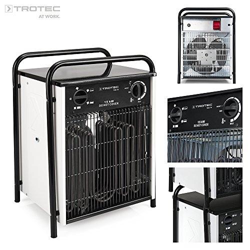 TROTEC Elektroheizer TDS 75 mit 15 kW Heizlüfter Heizgerät Bauheizer mit integriertem Thermostat
