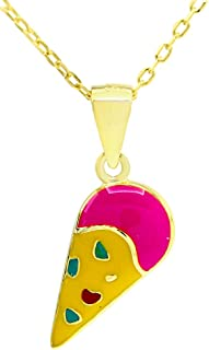 Jewelry Multi Color Enamel Ice Cream Cone Charm Pendant Necklace in 925 Sterling Silver