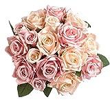 Aonewoe, bouquet di rose finte in seta, 9 pezzi, bouquet da sposa, bouquet da sposa, fiori artificiali, per hotel, ufficio, feste, banchetti, confezione da 2, colore: champagne