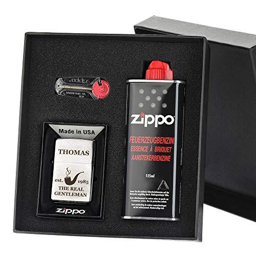 polar-effekt Zippo-Store Zippo Sturmfeuerzeug Geschenk-Set - 1 Flasche Benzin (125ml) - 6 Feuersteine - mit Gravur - inkl. Geschenketui - Wind- und Wetterfest Motiv Real Gentleman