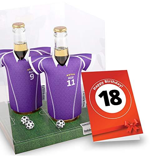 18. Geburtstag | Der Trikotkühler | Das Männergeschenk für AUE-Fans | Langlebige Geschenkidee Ehe-Mann Freund Vater Geburtstag | Bier-Flaschenkühler by Ligakakao