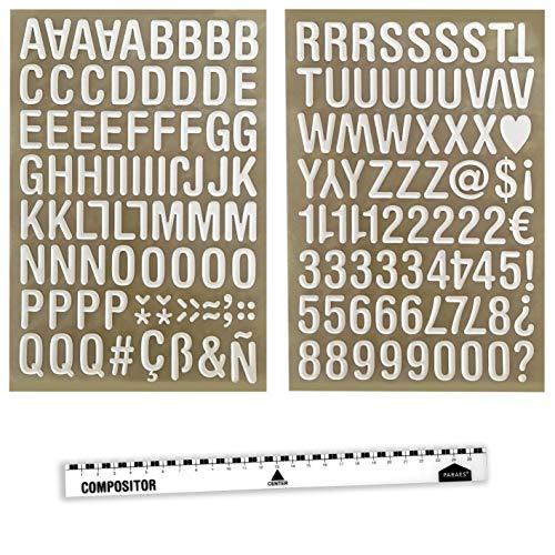PARAES Letras Adhesivas Blancas con Volumen - (32 mm de Altura) 127 Caracteres Letras Decorativas Números Blancos - Scrapbooking Materiales - Material Manualidades