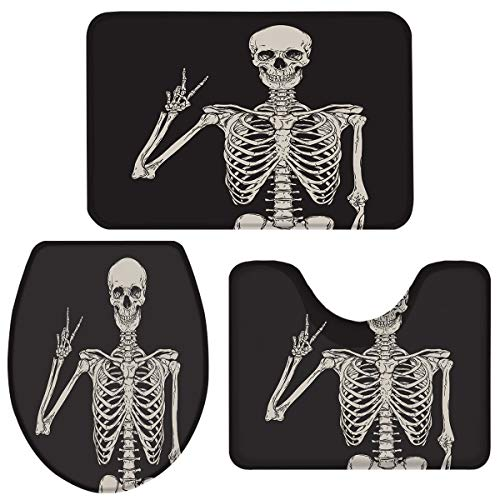 Fancyine 3 Pieces Bath Rugs Sets Funny Halloween Skull Skeleton Soft Non-Slip Absorbent Toilet Seat Cover U-Shaped Toilet Mat for Bathroom Decor Black Background
