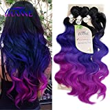 HANNE Ombre Color Hair Synthetic Body Wave Hair 18'20'22' with Closure Heat Resistant Fiber Hair Colorful Synthetic Hair Extensions (Black&Blue&Purple)