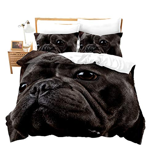 Loussiesd Dog Comforter Cover Set French Bulldog Duvet Cover Set Cute Animals Bedding Set Chocolate Color Domestic Pets for Kids Girls Boys Child 3D Print Decor 3 Pcs Duvet Cover Super King Size